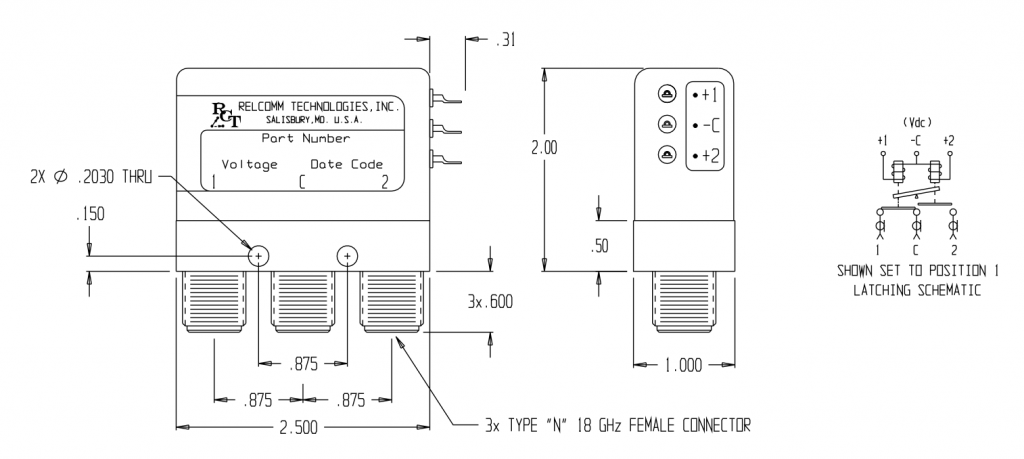RDL-Series SPDT Relay W/N Connectors 18 GHz Mechanical