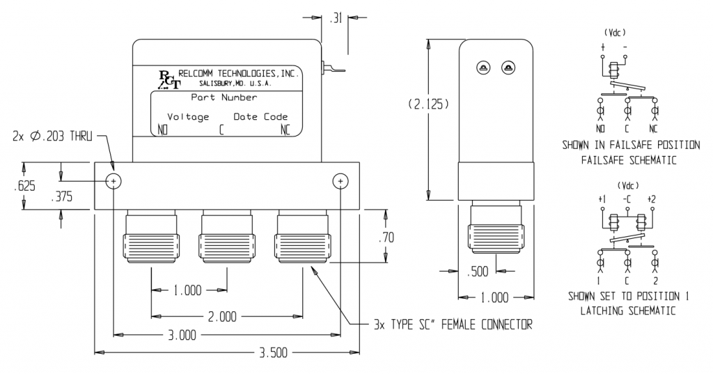 RDL-Series SPDT Relay W/SC Connector Mechanical Drawing