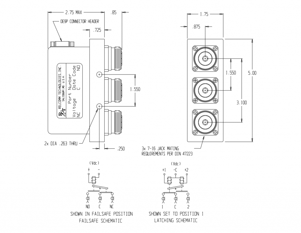 RDL-Series High Power SPDT Relay W/ 7/16 DIN Connectors Mechanical drawing