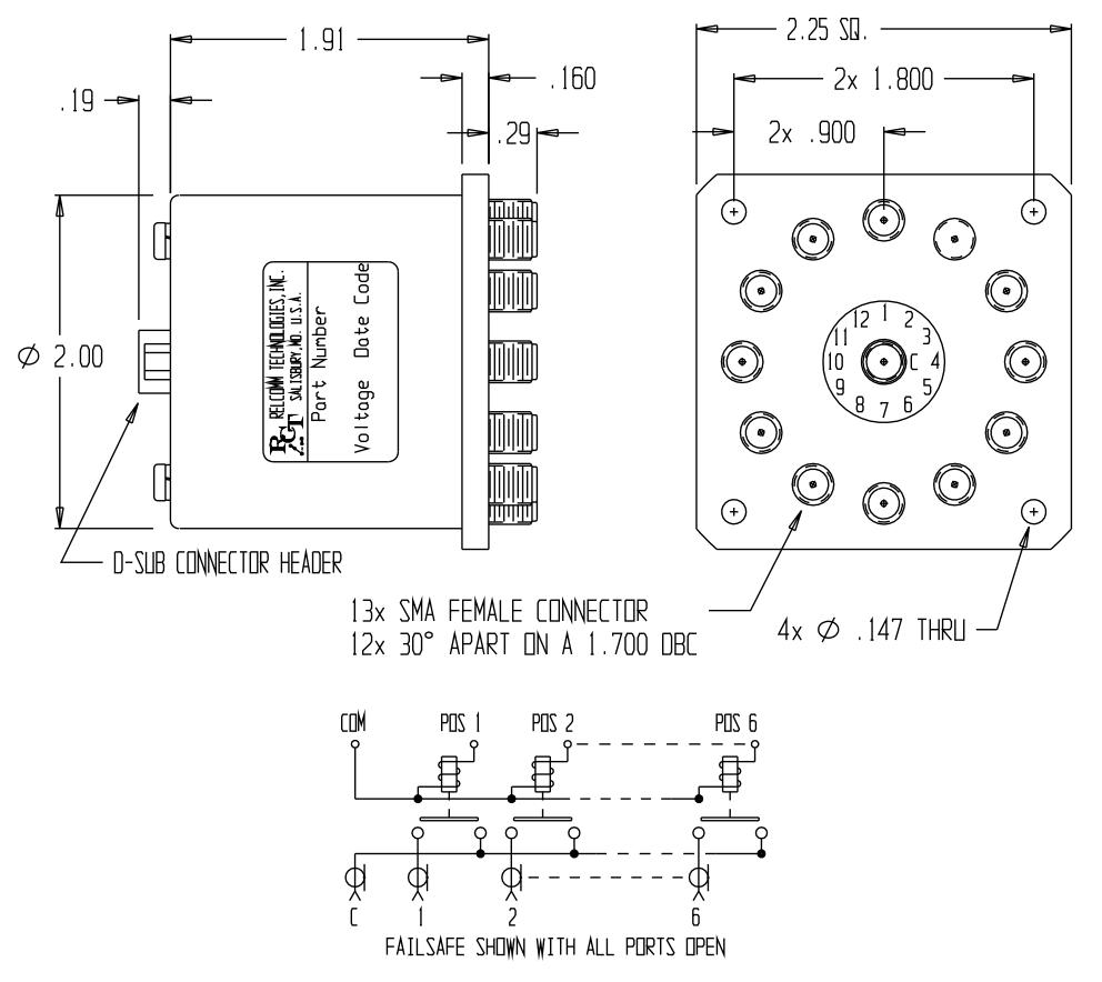 RMT-Series SP(11-12)T Failsafe Relay W/SMA Connectors mechanical