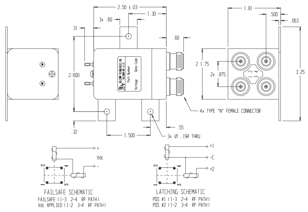 RTL-Series, Transfer Relay W/Std N Connector Mechanical drawing