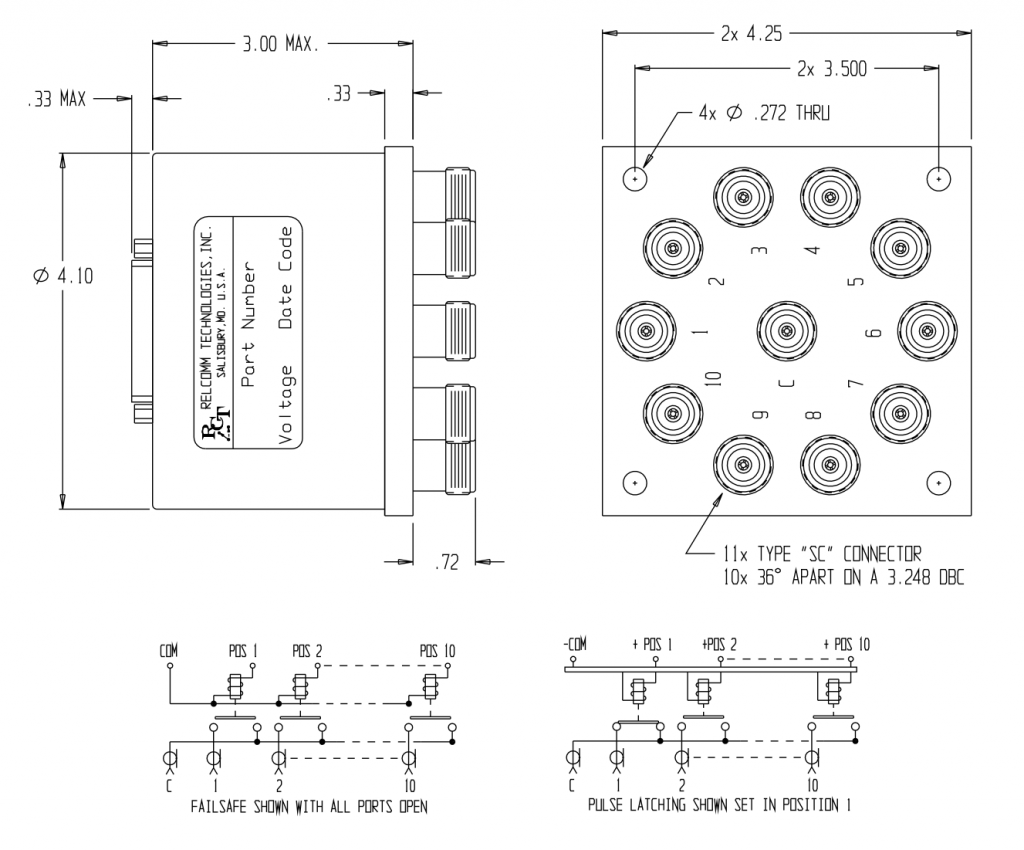 RML SP9-10P W/ SC Relay Mechanical Drawing