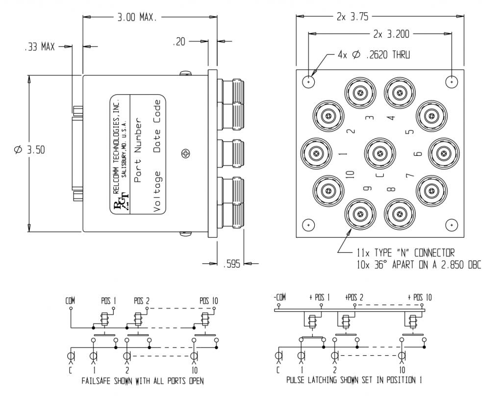 RML-Series SP(9-10)T Relay W/ N Connectors
