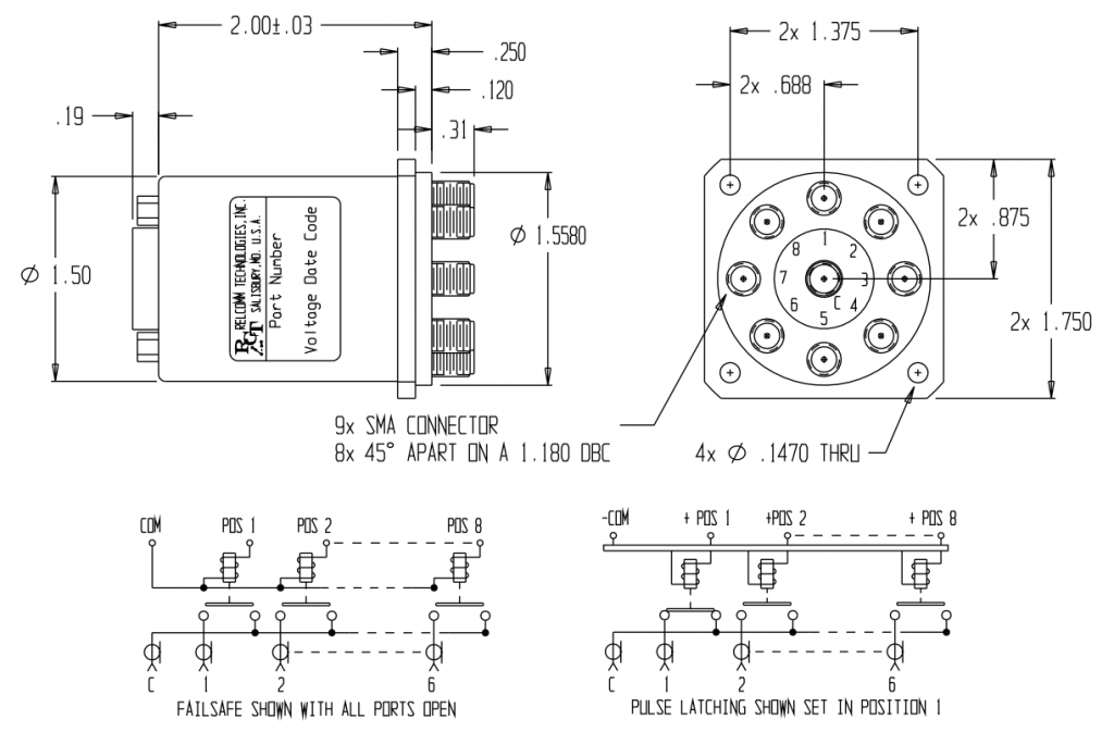 RMT-Series SP(7-8)T Relay W/SMA Connectors mechanical Drawing