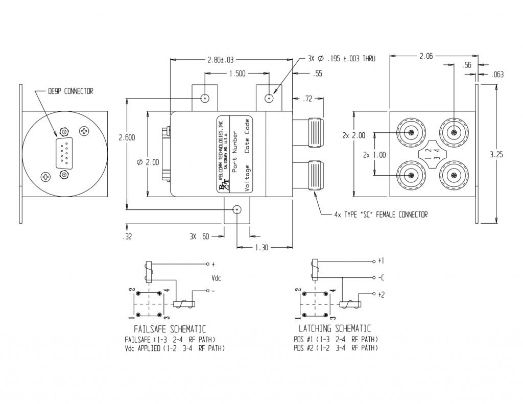 RTL Transfer Relay w/ SC Connectors Mechanical Drawing