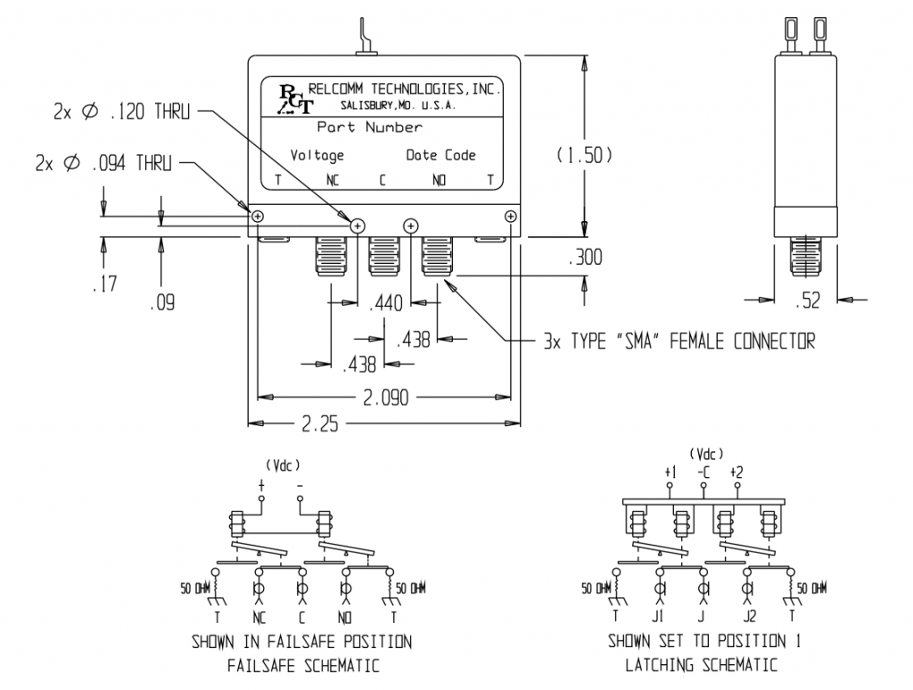 RWS-Series 2P2T Terminated Relay Mechanical Drawing